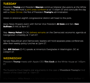 Weekly Upcoming Events List